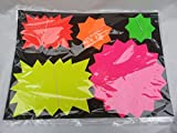 50 pcs neon flourescent stars flashs price display tags labels shop mix