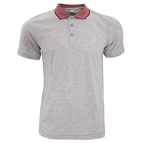 Bench Herren Curl Polo-Hemd mit Nadelstreifen, kurzärmlig Grau