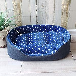 Hioowiu Punkt-Haustier-Bett-Art- und Weisegröße warme Hundehütte-Haus-Bequeme Matten-Qualitäts-großes Hundebett Tiefblaue Sterne_XL