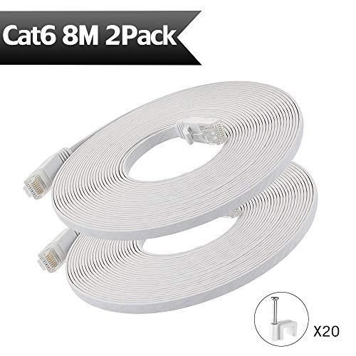 HopeU5-Ethernet-Kabel 8m, Cat6-Netzwerkkabel RJ45-Hochgeschwindigkeits-Patchkabel flach für Switch, Router, Modem, Patchpanel, PC und mehr - 2er-Pack Weiß (360 Modem Xbox)