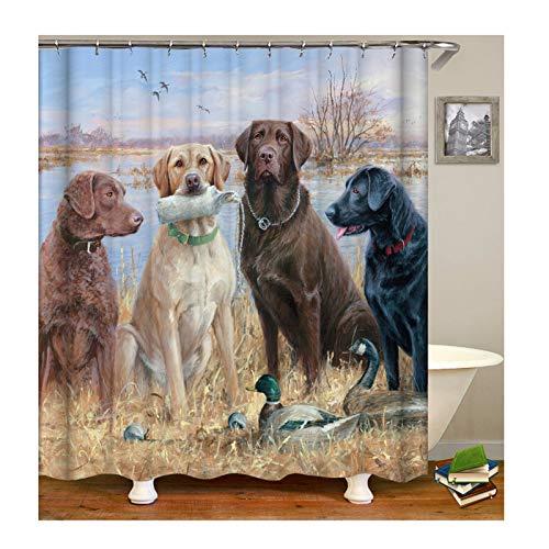 ster Duschvorhang Zwei Enten Vier Hunde Muster Design Badewanne Vorhang Digitaldruck Badewannenvorhang - Bunt mit Duschvorhangringen für Badezimmer Badewanne ()