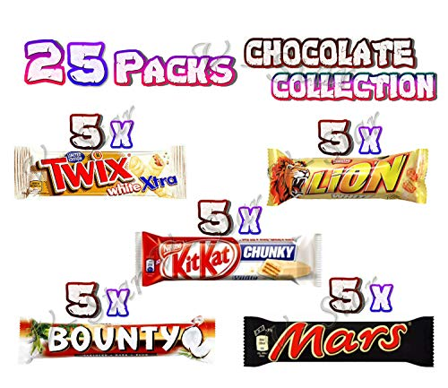 25 Mixed Chocolate Bars Packed - 5 X (Twix Extra White, KITKAT White, Lion White, Mars, Bounty Dark)