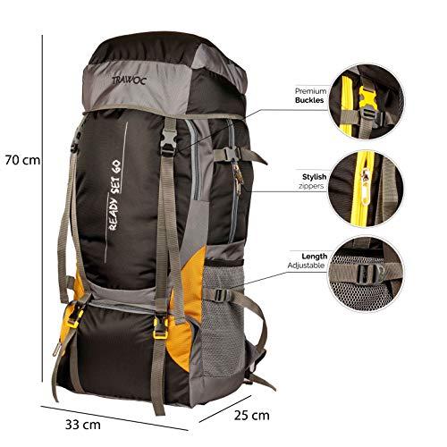 TRAWOC 55 Ltr Travel Backpack for Outdoor Sport Camping Hiking Trekking Bag Rucksack, Black Image 2