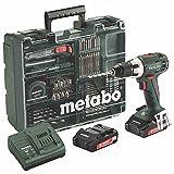 Metabo 602102600 BS 18 LT Set Akku-Bohrschrauber 18V / 2,0Ah, Mobile Werkstatt, 18 V, Schwarz, Grün
