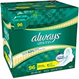 CentralAthena Always Ultra Thin Regular Pads with Wings, 96 Count