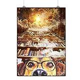 Chien Geek Espace Fantaisie Livre Rêver Matte/Glacé Affiche A3 (42cm x 30cm) | Wellcoda