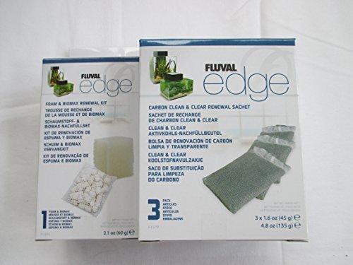 fluval edge zubehoer Fluval Edge Ersatzfiltermaterial - Biomax und Schaumstoff , 3x Aktivkohle (A1379 und A1389)