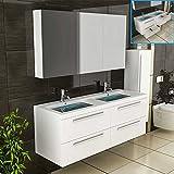 Weiss Badmöbel / Doppelwaschbecken mit Unterschrank / Spiegelschrank inkl. Soft-Close Funktion / Badezimmer / Badset / Komplettprogramme