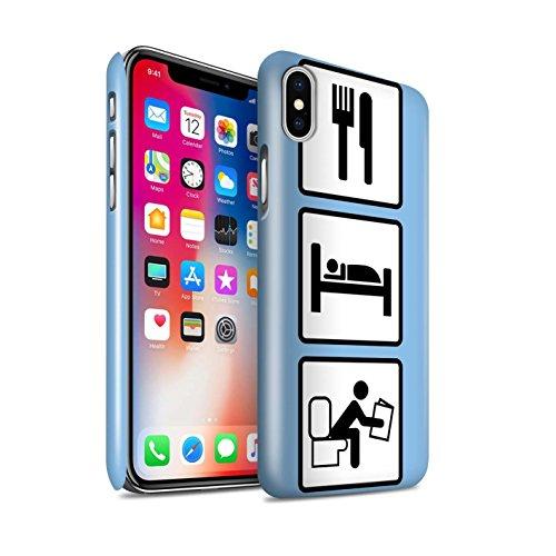 STUFF4 Glanz Snap-On Hülle / Case für Apple iPhone X/10 / Heben/Turnhalle/Blau Muster / Essen/Schlaf Kollektion Poop/Blau