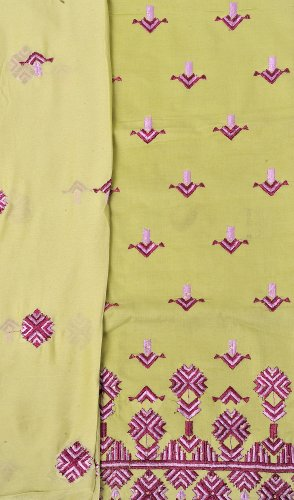 Exotic India Phulkari Salwar Kameez Fabric From Punjab with Ari Embroidery -...