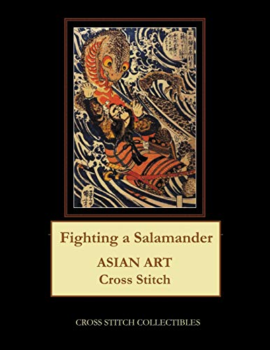 Fighting a Salamander: Asian Art Cross Stitch Pattern -
