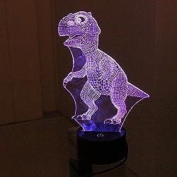Escomdp USB 3D Vision LED Luz de Noche de Mesa Escritorio con Base de Ranura Para Batería AA Casa Bar café Lámpara decorativa con siete colores, regalo para niños niños (Dinosaurio)