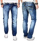 A. Salvarini Herren Designer Jeans Hose blau dicke gelbe Zier Nähte NEU AS010 [AS010 - W29 L32]