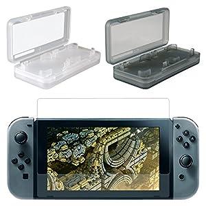 eXtremeRate 2 Nintendo Switch Kratzfeste Schutzfolie+2 Spiel Tasche Game Card Videospiele Cases Zubehör Set für Nintendo Switch