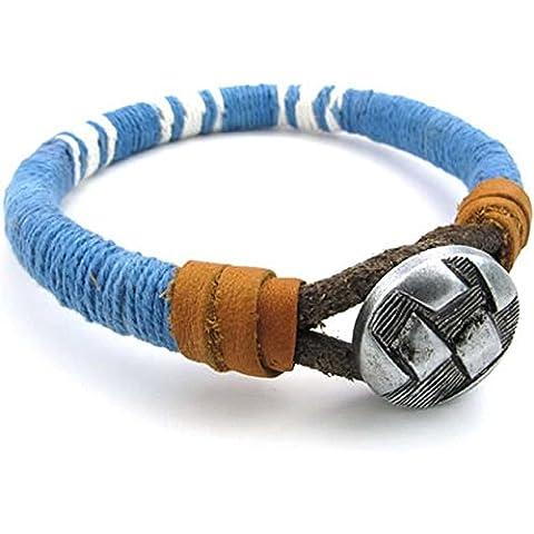AnaZoz Azul Cuerda Cuero Pulsera Brazalete Personalidad Simple Joyería de Moda de Hombre Mujer