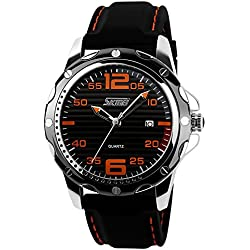 ufengke® stripe dial silicone strap calendar wrist watch for men,casual waterproof watch,black dial orange numerals