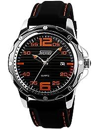 ufengke® streifen wahlsilikonband kalender handgelenk armbanduhren für männer,30 m wasserdicht lässig armbanduhren,schwarzes zifferblatt orange ziffern