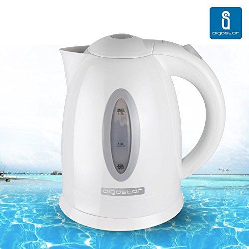 Aigostar Basic Plus 30CDW - Hervidor de agua gris y blanco con 2200 watios de potencia, capacidad 1,7L.