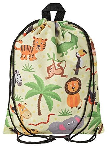 Aminata Kids - Kinder-Turnbeutel für Mädchen und Junge-n mit Safari Waldtier-e Dschungel Zoo-Tier-e Sport-Tasche-n Gym-Bag Sport-Beutel-Tasche gelb AFFE-n Löwe-n Elefant-en... -
