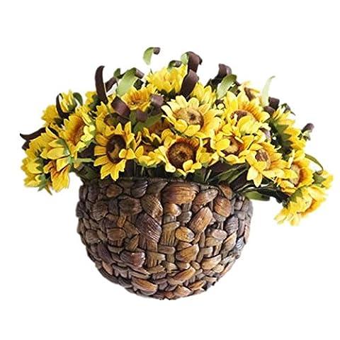 Wall wall flower basket decoration rattan flower flower set