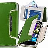 numia Nokia Lumia 1020 Hülle, Handyhülle Handy Schutzhülle [Book-Style Handytasche mit Standfunktion und Kartenfach] Pu Leder Tasche für Nokia Lumia 1020 Case Cover [Grün-Weiss]