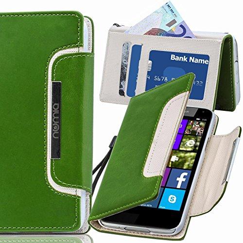 numia Nokia Lumia 1520 Hülle, Handyhülle Handy Schutzhülle [Book-Style Handytasche mit Standfunktion und Kartenfach] Pu Leder Tasche für Nokia Lumia 1520 Case Cover [Grün-Weiss]