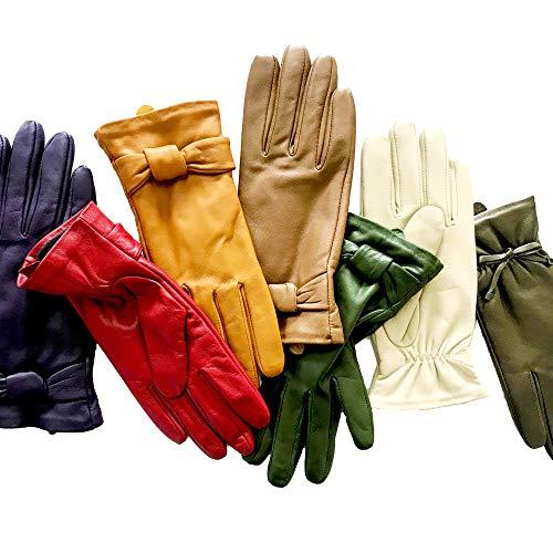 """YISEVEN Soft Damen Lederhandschuhe für Winter Warm Lammfell Handschuhe 100% Thermal Lining Pure Warm Driving Motorrad Arbeitsanzug für den täglichen Gebrauch Brauner Zucker 8.0""""/XL"""