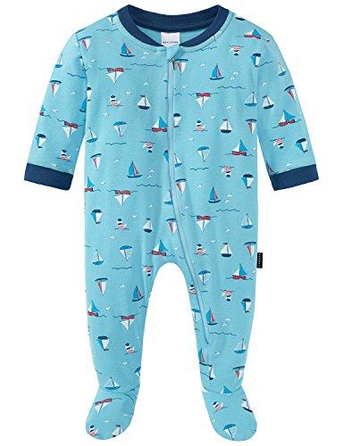 Schiesser Baby-Jungen Zweiteiliger Schlafanzug Maritim Anzug mit Fuß, Blau (Hellblau 805), 86