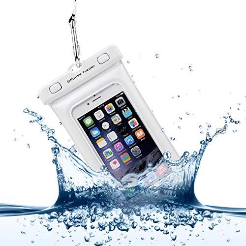 Power Theory wasserdichte Handyhülle - Wasserfeste Handytasche Handyschutz Cover Beutel Beachbag Tasche Handy Hülle Waterproof Case - iPhone X/XS 8 7 6s Samsung S10 S9 S8 S7 und viele mehr (Weiß)