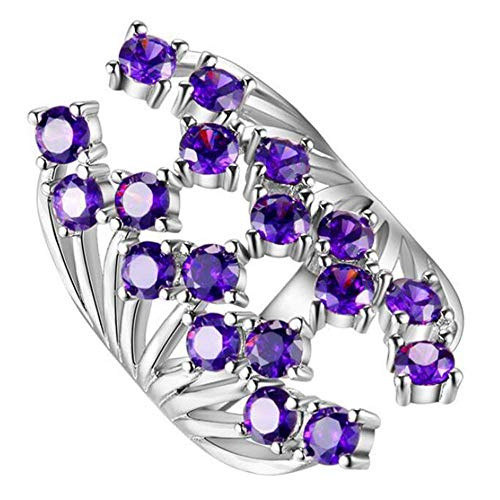 Purmy donne anello bianca placcato oro fede nuziale con viola cubic zirconia fiore forma design dolce design stile