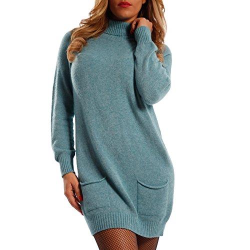 Damen Oversize Strickkleid Long Pullover mit Rollkragen , Farbe:Blau;Größe:One Size