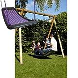 Große Mehrkindschaukel STANDARD Farbe wählbar für 4 Kinder, 136 x 66 cm (silber/violett)