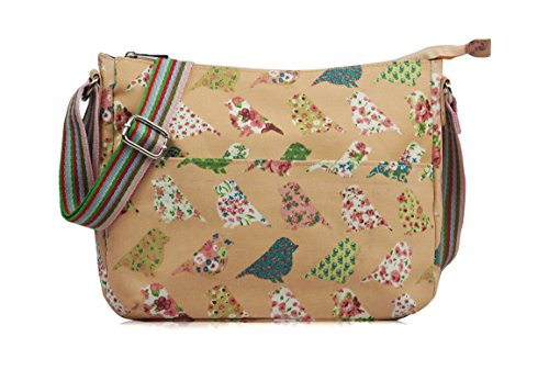 ydezire® Damen -Wachstuch- Taube Cross Body Messenger Bag Schultertasche mit buntem Vogelmuster Frauen Handtasche, rosa - hellrosa - Größe: Medium -
