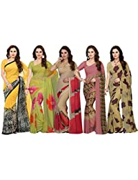 Ishin georgette with Blouse Piece Saree (Pack of 5