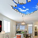 AUVS 3D Amovibles Briser Le Mur Autocollant Vinyle Stickers Muraux /mur Peintures, Art Autocollants Décorateur Blue Sky (70x90cm)