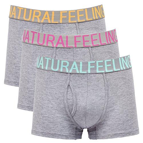 Herren Boxershorts Unterwäsche Baumwolle Grau Mens Underwear Boxers 3 Stück (Designer-unterwäsche)