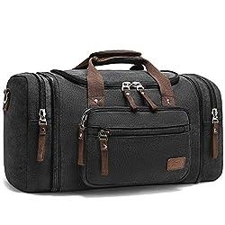 Canvas Reisetaschen, Fresion Großräumige Handtasche Schultertasch Herren Weekender Sporttasche Damen Reisetasche mit 2 Seiten Taschen für Erweiterungen (Schwarz)