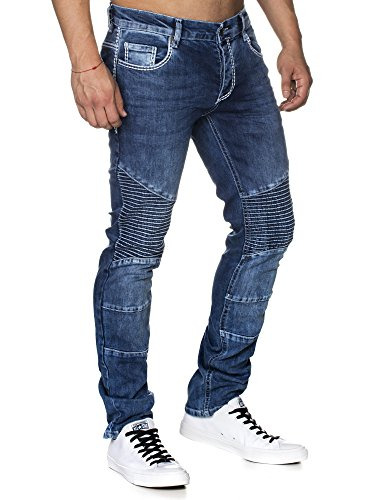 TAZZIO Slim Fit Herren biker Look Stretch Jeans Hose Denim 16528 Blau 32/32