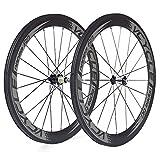 VCYCLE Nopea 700C Fibre de Carbone Paire de Roues Vélo Route 60mm Tubulaire Largeur 23mm Seulement 1585g Shimano ou Sram 8/9/10/11 Vitesse
