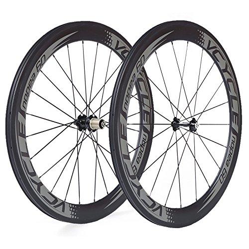 VCYCLE Nopea 700C Fibre de Carbone Paire de Roues Vélo Route 60mm Tubulaire Largeur 23mm Seulement...