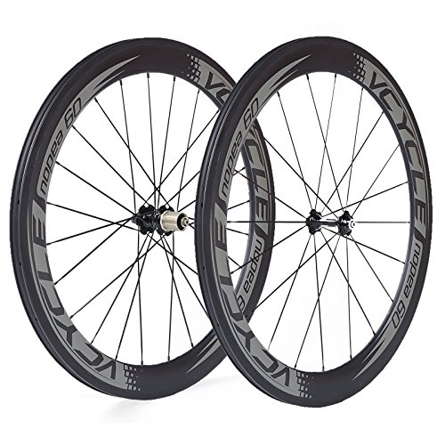VCYCLE Nopea 700C de Fibra de Carbono Bicicleta de Carretera Bicicleta Ruedas Tubulares 60mm 23mm de Ancho solo 1585g Shimano o Sram 8/9/10/11 Velocidad