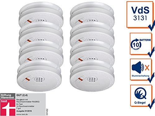 8er SET Rauchmelder mit 10 Jahres Lithium Batterie - VDS Zertifiziert & Q-Siegel für höchste...