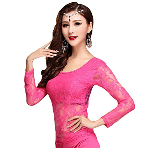 YiJee Damen Bauchtanz Kostüm Tops Belly Dance Spitze Bluse Rose ()