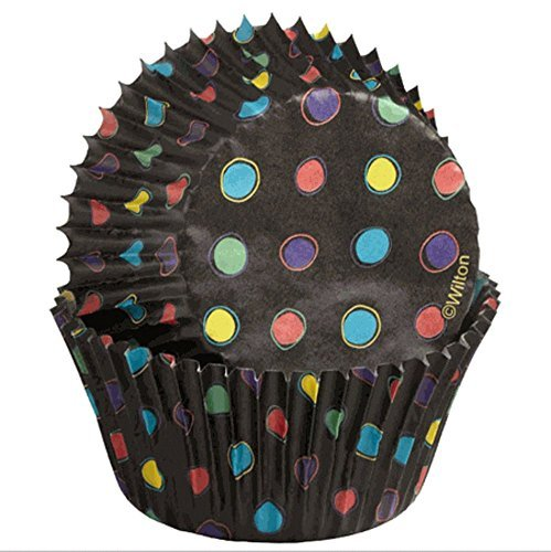 Black Foil No Fade Cupcake Liners with Neon Dots by Wilton