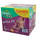 Pampers Couches Premium Protection Active Fit Taille 5+ (Junior+) 13–25 kg, Pack Jumbo Plus de 58 couches (1 x 58 couches)