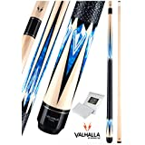 Valhalla VA471 By Viking 2 Piece Pool Cue Stick Linen Wrap, Blue HD Graphic Transfers, Nickel Silver Rings, High Impact Ferrule, 16-21 Oz. Plus Rosin Bag (17.5)