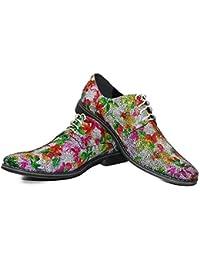 Modello Lucifero - 41 EU - Cuero Italiano Hecho A Mano Hombre Piel Rojo Zapatos Vestir Oxfords - Piel de Cabra Cuero Suave - Encaje