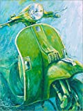 Canvas print 90 x 120 cm: Vespa green by Renate Berghaus - ready-to-hang wall picture, stretched on canvas frame, printed image on pure canvas fabric, canvas print