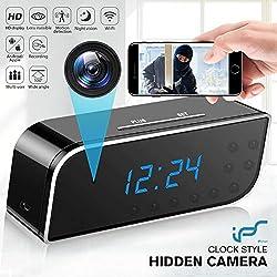 Caméra Espion,Mini Caméra Espion 1080P WiFi Réveil Caméra de Surveillance de Vision Nocturne Nanny Caméra Cachée Détection de Mouvement Surveillance en Temps réel à la Maison ou au Bureau