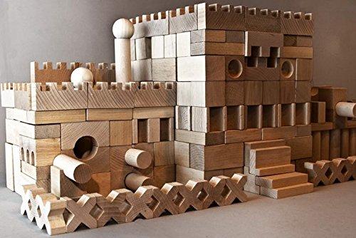 220 Holzbausteine Bauklötze Holzklötze Buche Holz Holzbauklötze Natur XXL